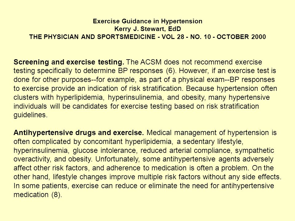 Exercise Guidance in Hypertension