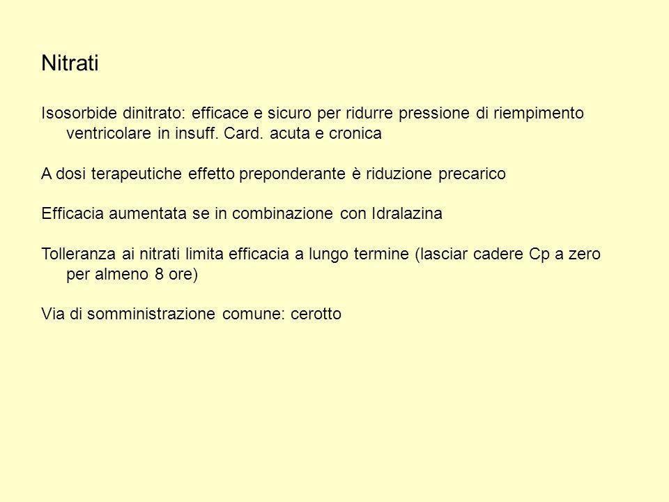 Nitrati Isosorbide dinitrato: efficace e sicuro per ridurre pressione di riempimento ventricolare in insuff. Card. acuta e cronica.