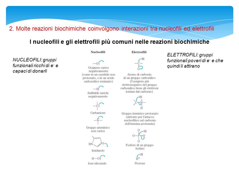 I nucleofili e gli elettrofili più comuni nelle reazioni biochimiche