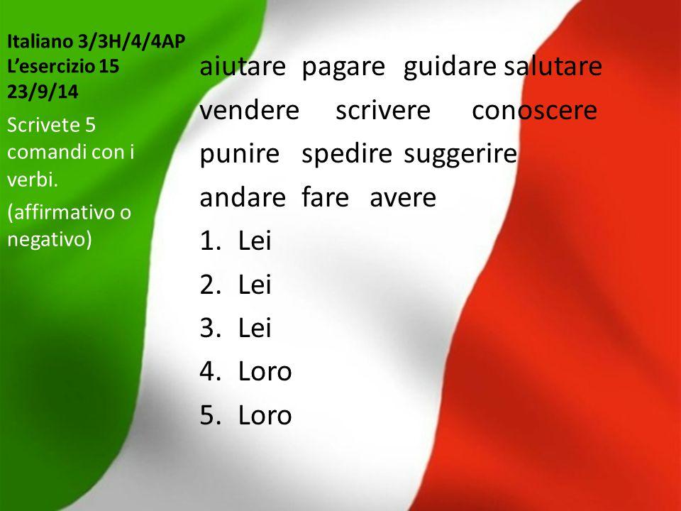 Italiano 3/3H/4/4AP L'esercizio 15 23/9/14