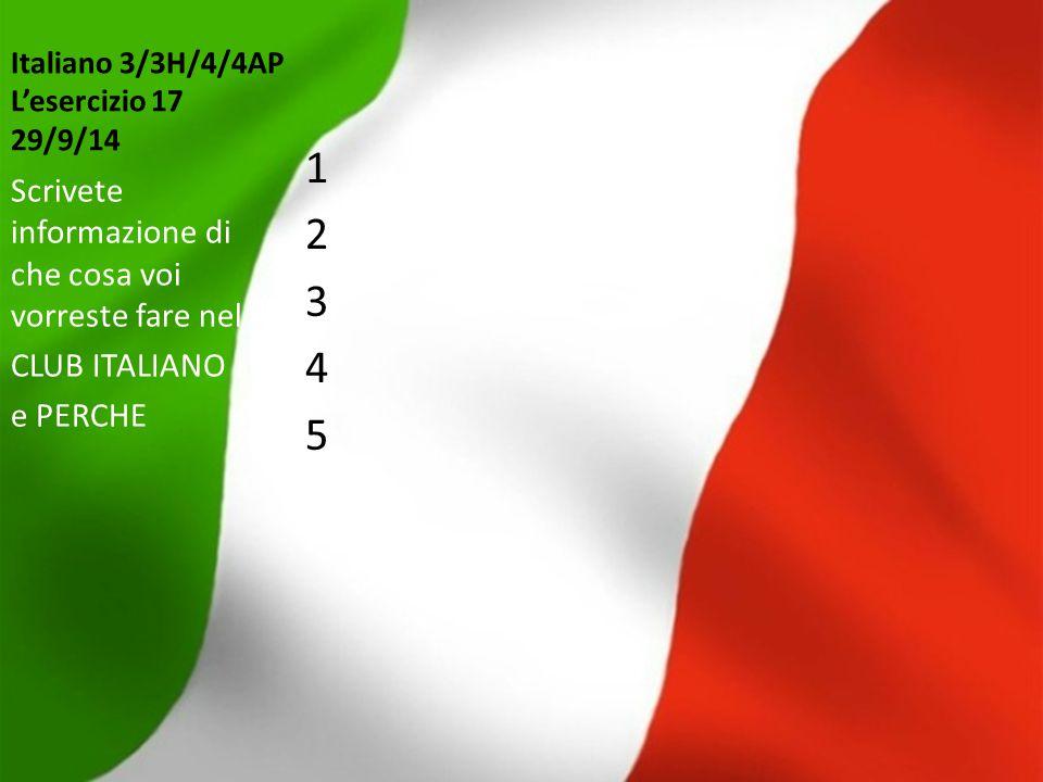 Italiano 3/3H/4/4AP L'esercizio 17 29/9/14