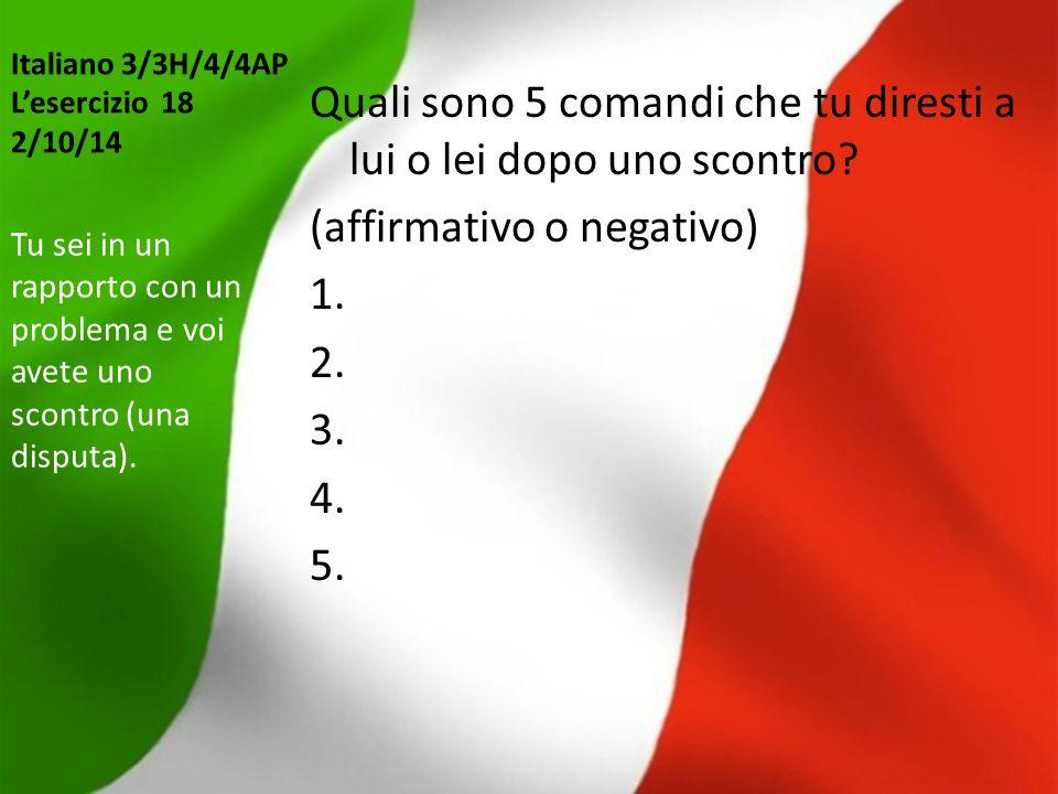 Italiano 3/3H/4/4AP L'esercizio 18 2/10/14