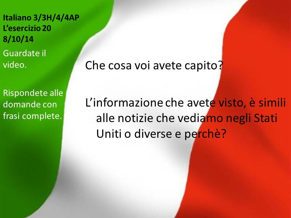 Italiano 3/3H/4/4AP L'esercizio 20 8/10/14