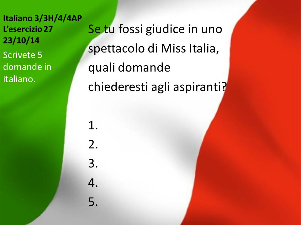 Italiano 3/3H/4/4AP L'esercizio 27 23/10/14