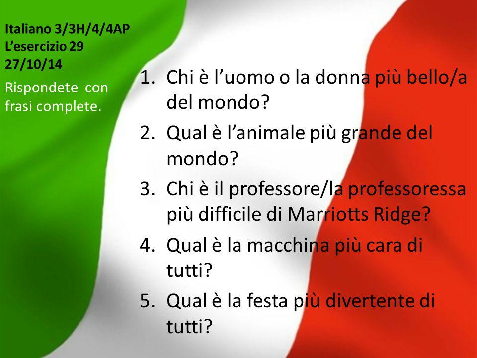 Italiano 3/3H/4/4AP L'esercizio 29 27/10/14