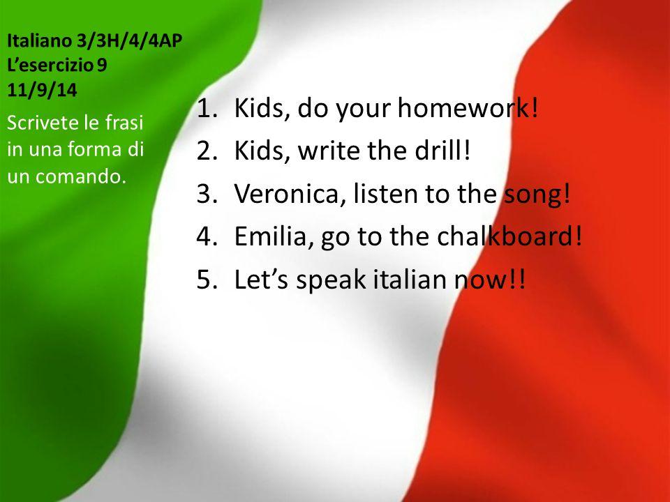 Italiano 3/3H/4/4AP L'esercizio 9 11/9/14