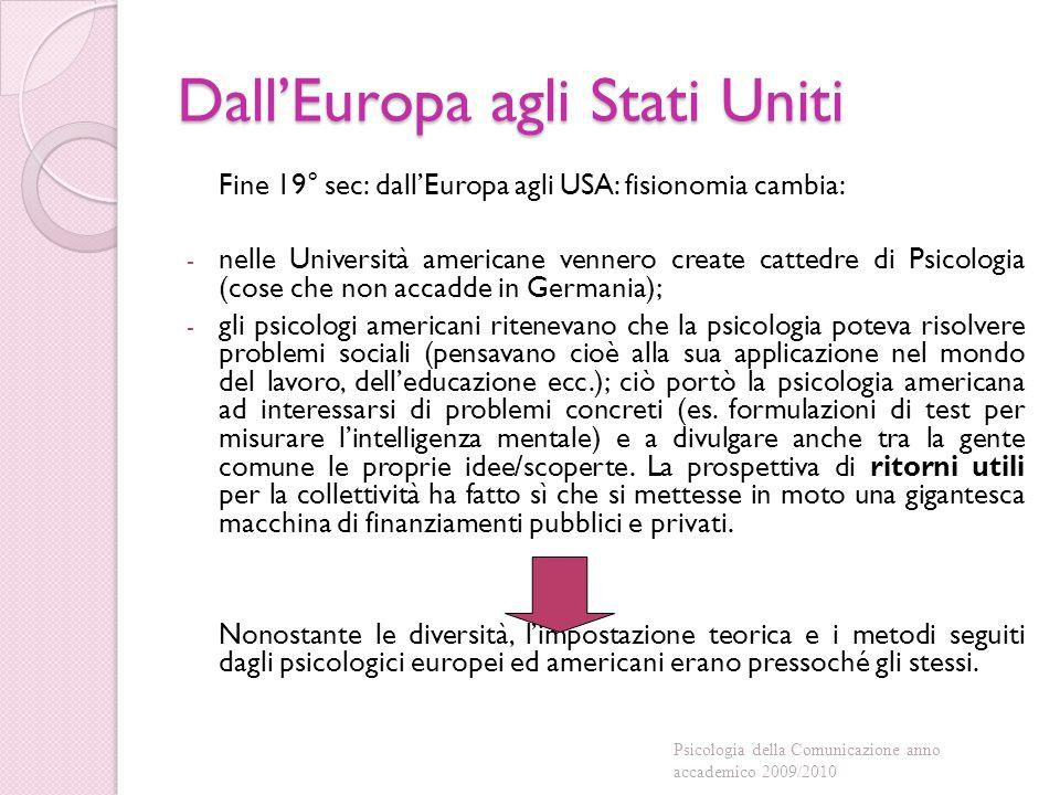 Dall'Europa agli Stati Uniti