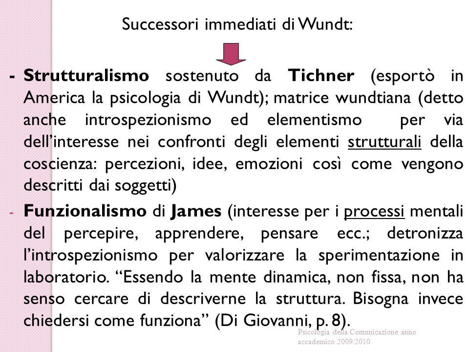 Successori immediati di Wundt: