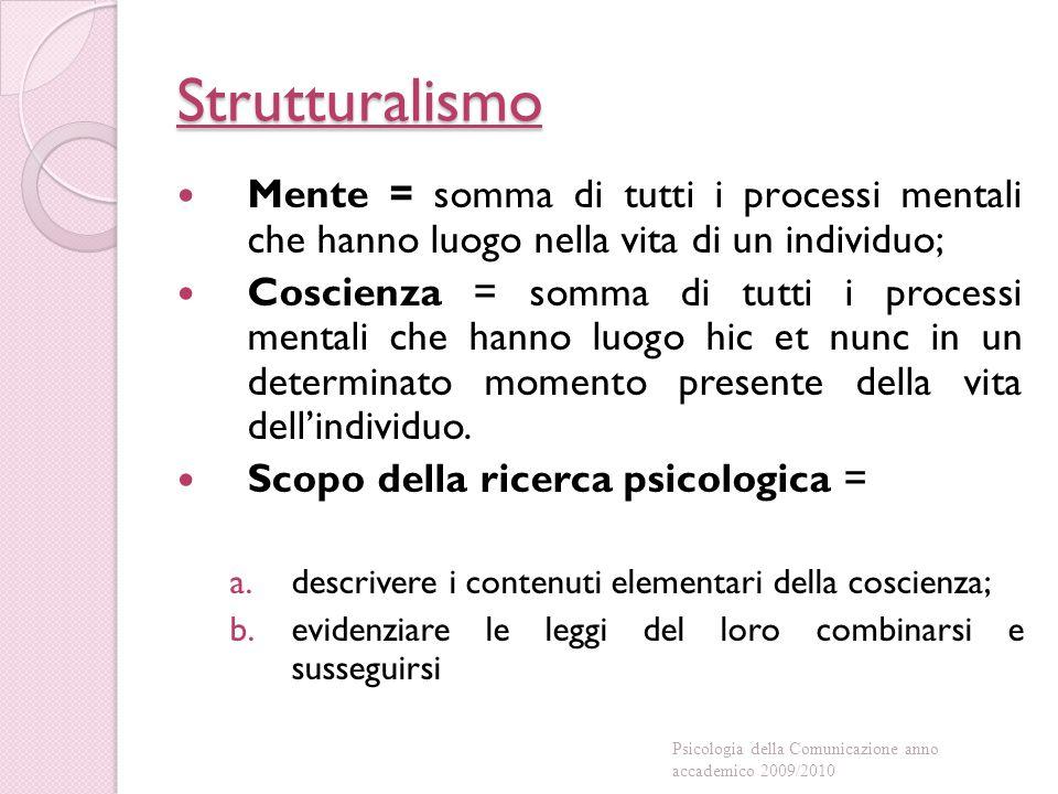 Strutturalismo Mente = somma di tutti i processi mentali che hanno luogo nella vita di un individuo;
