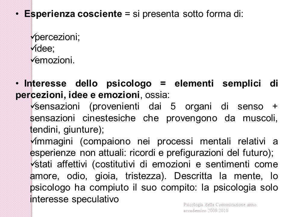 Esperienza cosciente = si presenta sotto forma di: percezioni; idee;