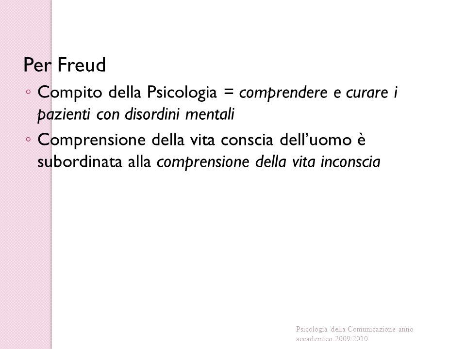 Per Freud Compito della Psicologia = comprendere e curare i pazienti con disordini mentali.