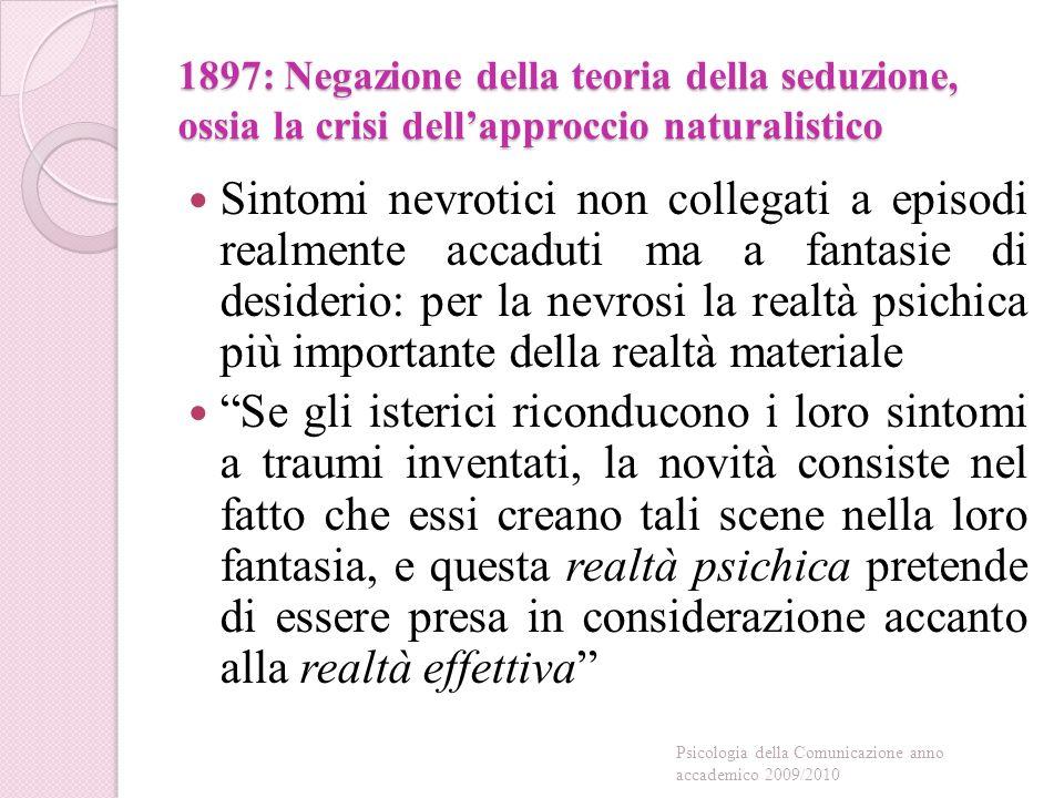 1897: Negazione della teoria della seduzione, ossia la crisi dell'approccio naturalistico