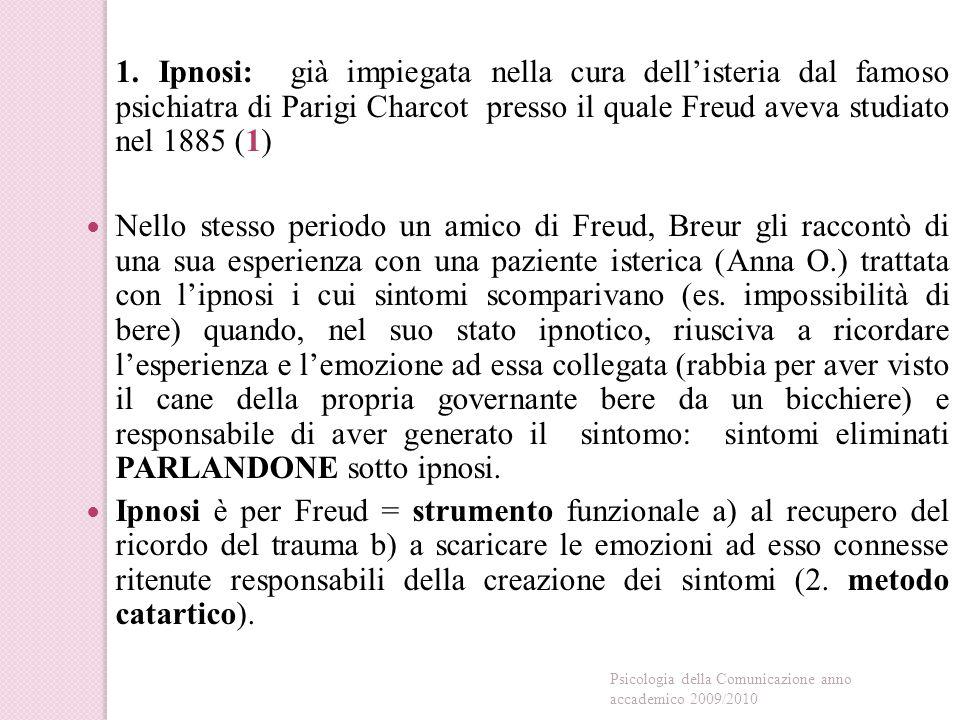1. Ipnosi: già impiegata nella cura dell'isteria dal famoso psichiatra di Parigi Charcot presso il quale Freud aveva studiato nel 1885 (1)