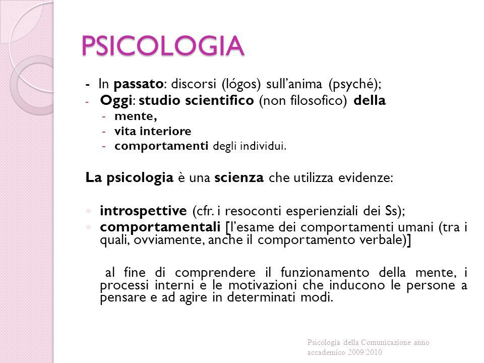 PSICOLOGIA - In passato: discorsi (lógos) sull'anima (psyché);