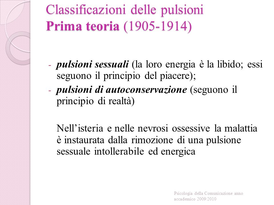 Classificazioni delle pulsioni Prima teoria (1905-1914)