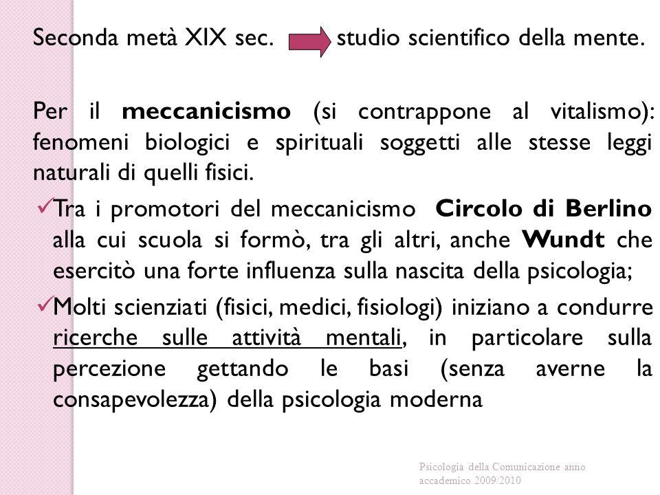 Seconda metà XIX sec. studio scientifico della mente.