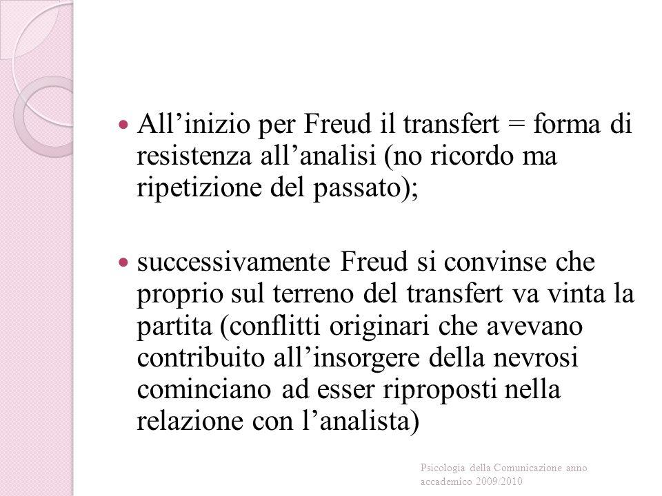 All'inizio per Freud il transfert = forma di resistenza all'analisi (no ricordo ma ripetizione del passato);