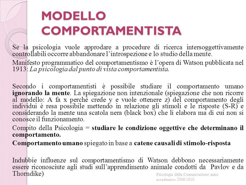 MODELLO COMPORTAMENTISTA