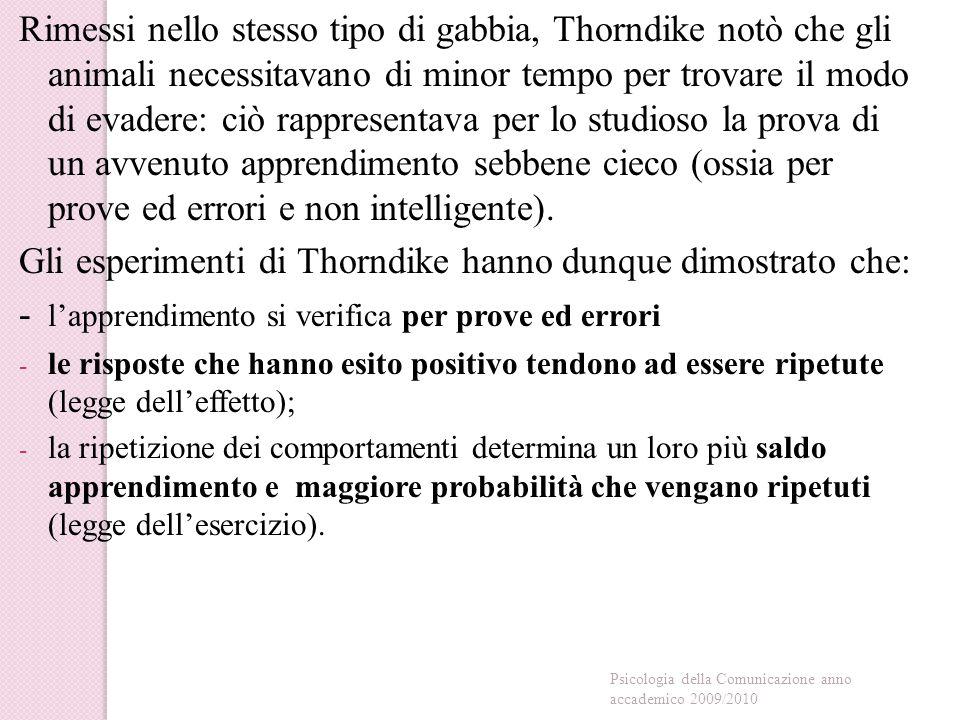 Gli esperimenti di Thorndike hanno dunque dimostrato che: