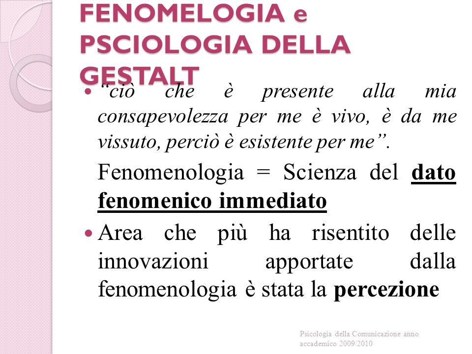 FENOMELOGIA e PSCIOLOGIA DELLA GESTALT