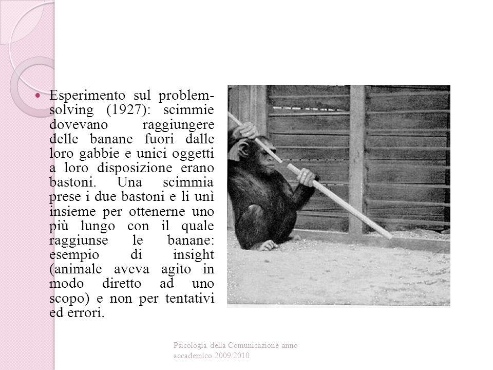 Esperimento sul problem- solving (1927): scimmie dovevano raggiungere delle banane fuori dalle loro gabbie e unici oggetti a loro disposizione erano bastoni. Una scimmia prese i due bastoni e li unì insieme per ottenerne uno più lungo con il quale raggiunse le banane: esempio di insight (animale aveva agito in modo diretto ad uno scopo) e non per tentativi ed errori.