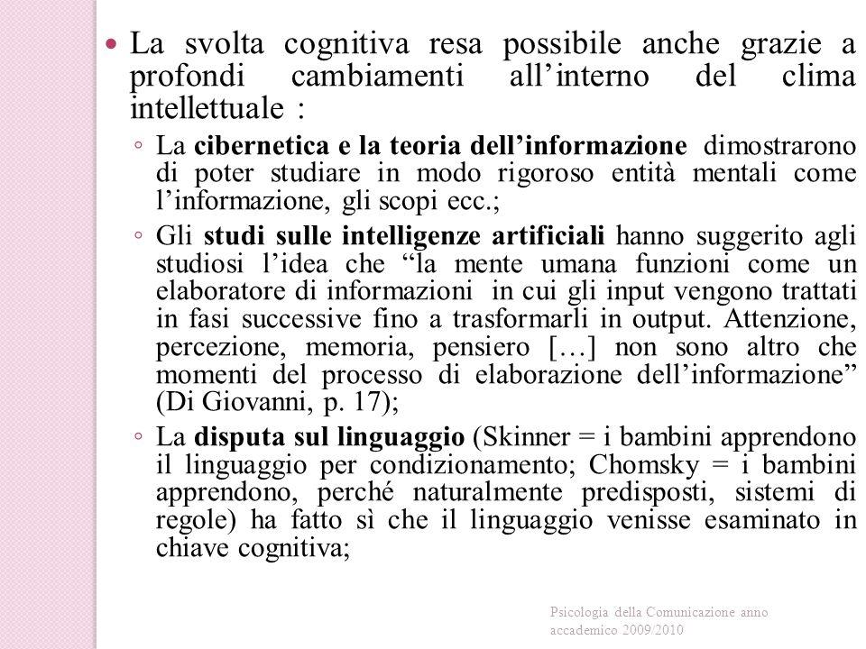 La svolta cognitiva resa possibile anche grazie a profondi cambiamenti all'interno del clima intellettuale :