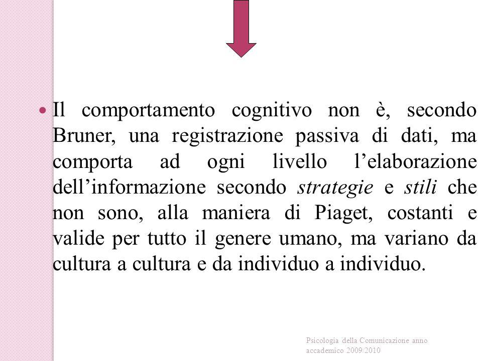 Il comportamento cognitivo non è, secondo Bruner, una registrazione passiva di dati, ma comporta ad ogni livello l'elaborazione dell'informazione secondo strategie e stili che non sono, alla maniera di Piaget, costanti e valide per tutto il genere umano, ma variano da cultura a cultura e da individuo a individuo.