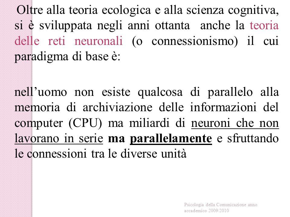 Oltre alla teoria ecologica e alla scienza cognitiva, si è sviluppata negli anni ottanta anche la teoria delle reti neuronali (o connessionismo) il cui paradigma di base è: