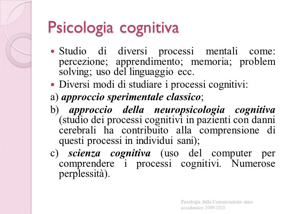 Psicologia cognitiva Studio di diversi processi mentali come: percezione; apprendimento; memoria; problem solving; uso del linguaggio ecc.