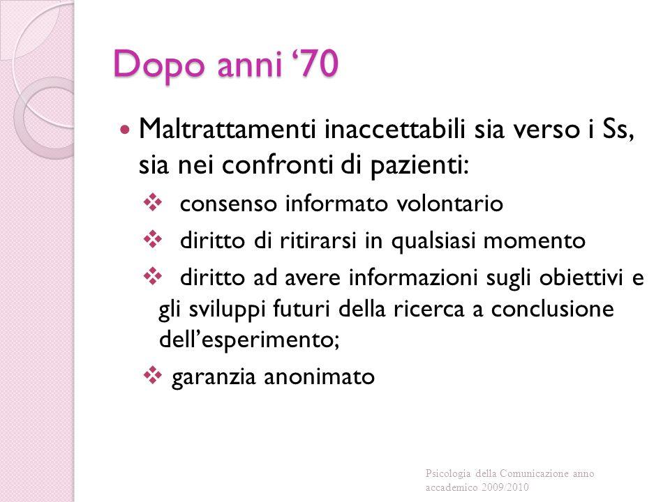 Dopo anni '70 Maltrattamenti inaccettabili sia verso i Ss, sia nei confronti di pazienti: consenso informato volontario.