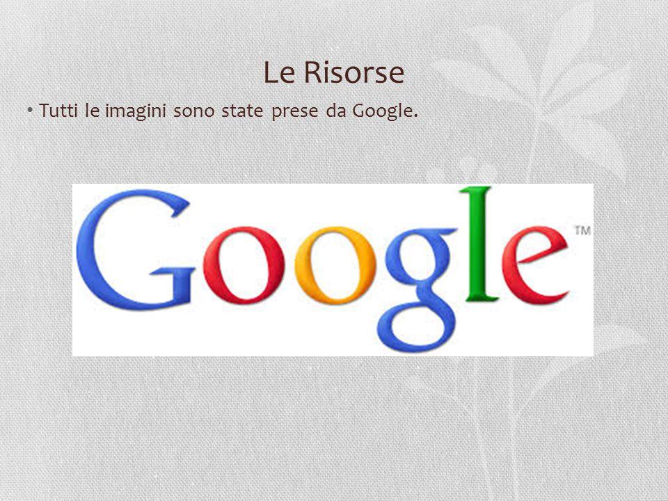 Le Risorse Tutti le imagini sono state prese da Google.