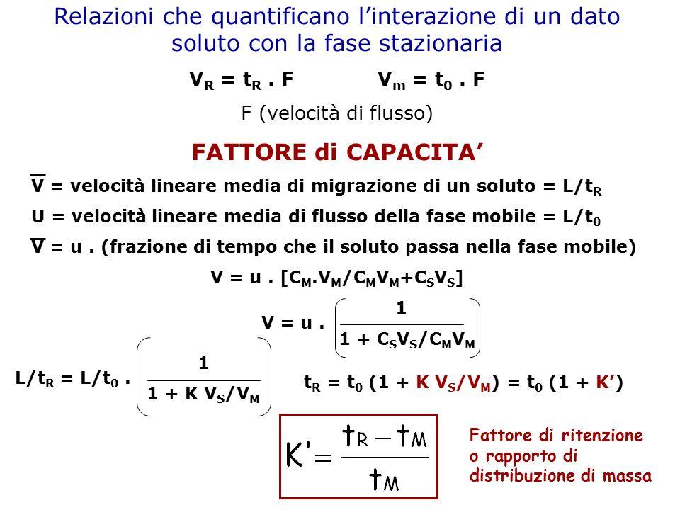 Relazioni che quantificano l'interazione di un dato soluto con la fase stazionaria