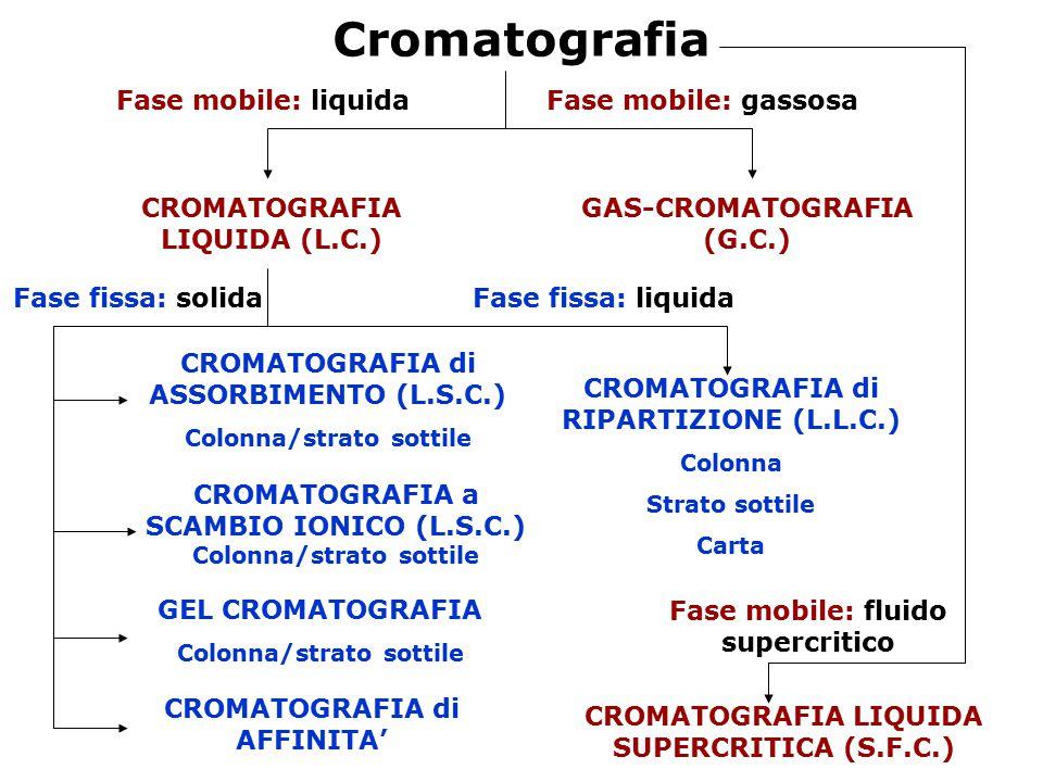 Cromatografia Fase mobile: liquida Fase mobile: gassosa