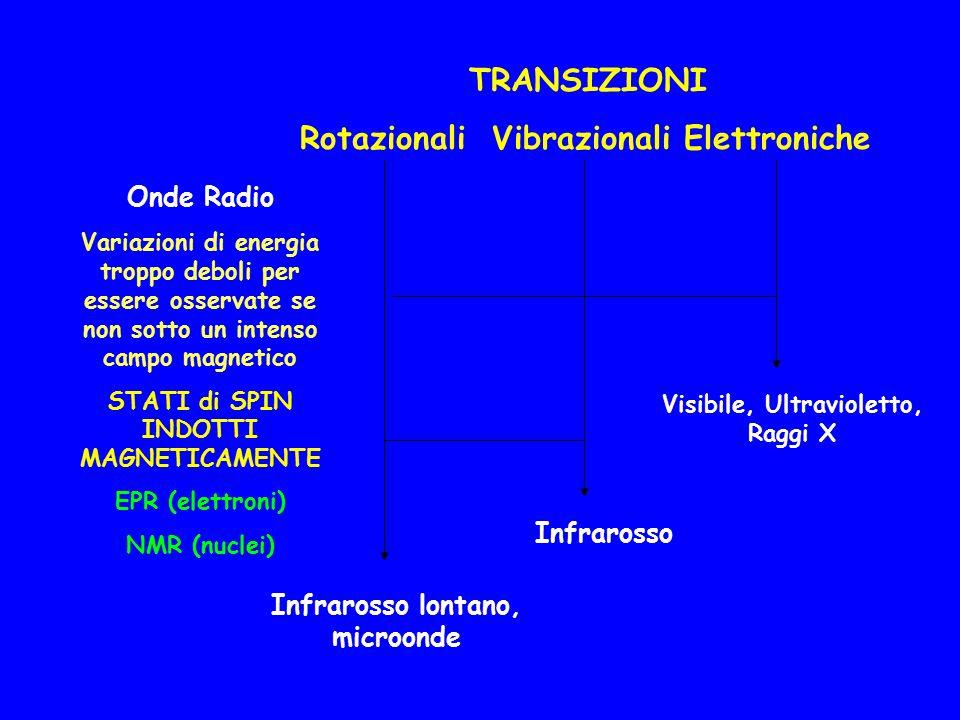 TRANSIZIONI Rotazionali Vibrazionali Elettroniche