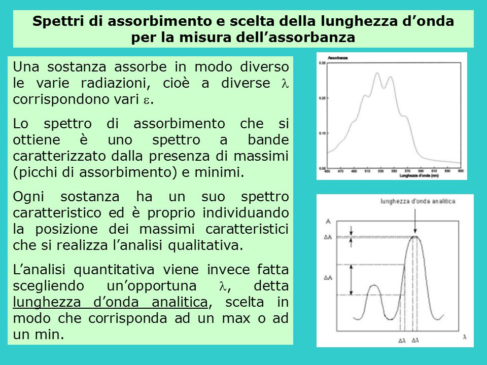 Spettri di assorbimento e scelta della lunghezza d'onda per la misura dell'assorbanza