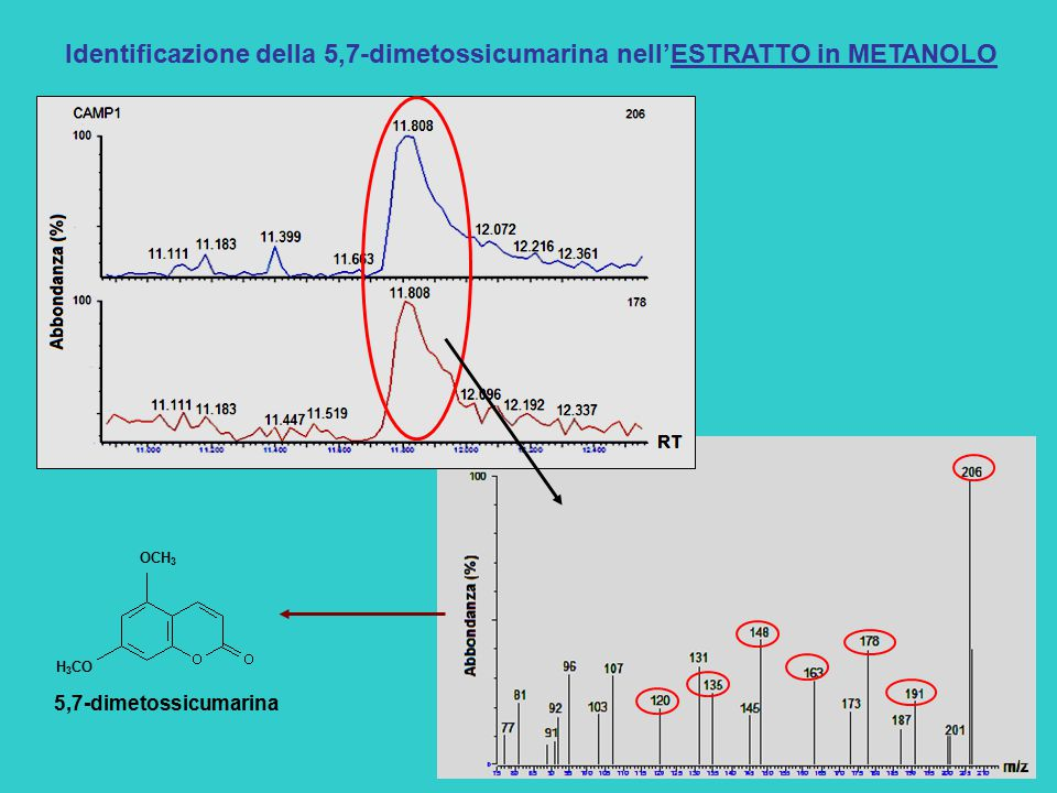Identificazione della 5,7-dimetossicumarina nell'ESTRATTO in METANOLO