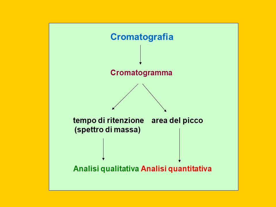 Cromatografia Cromatogramma tempo di ritenzione (spettro di massa)