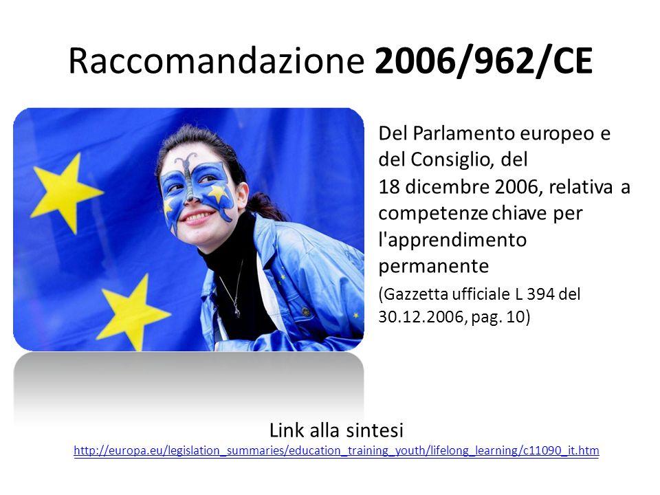Raccomandazione 2006/962/CE a Link alla sintesi 30.12.2006, pag. 10)