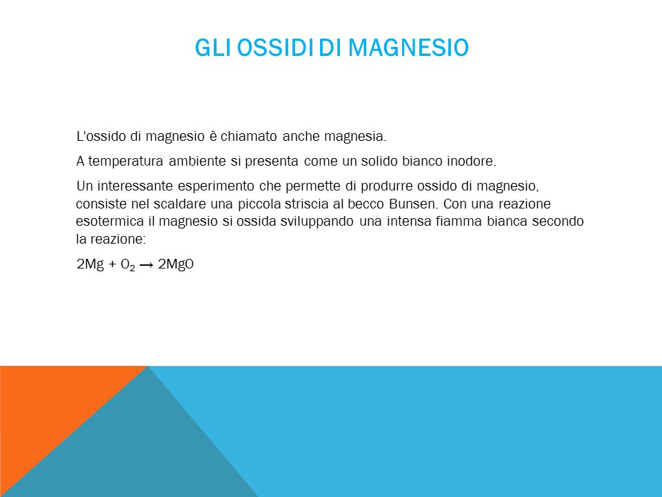 Gli Ossidi di Magnesio