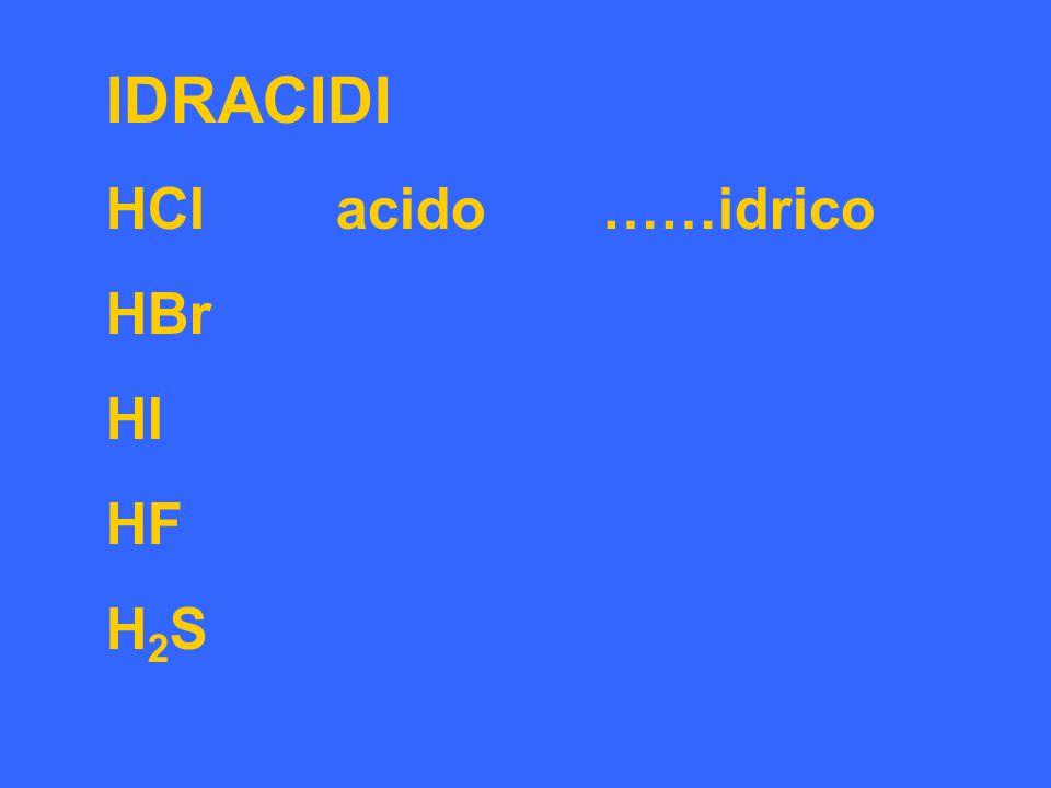IDRACIDI HCl acido ……idrico HBr HI HF H2S