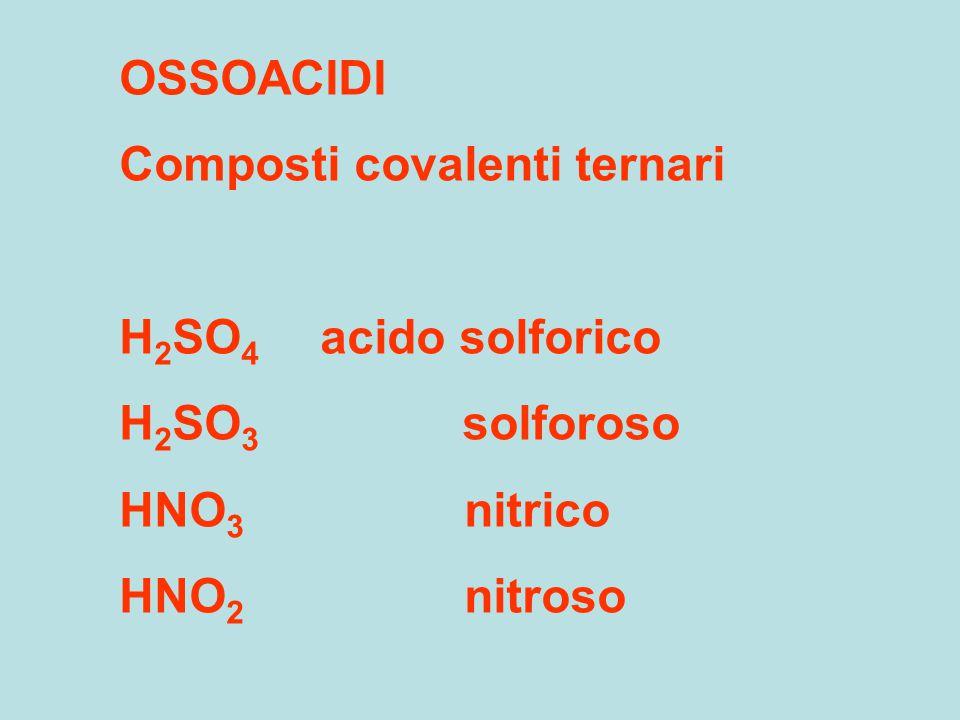 OSSOACIDI Composti covalenti ternari. H2SO4 acido solforico. H2SO3 solforoso.