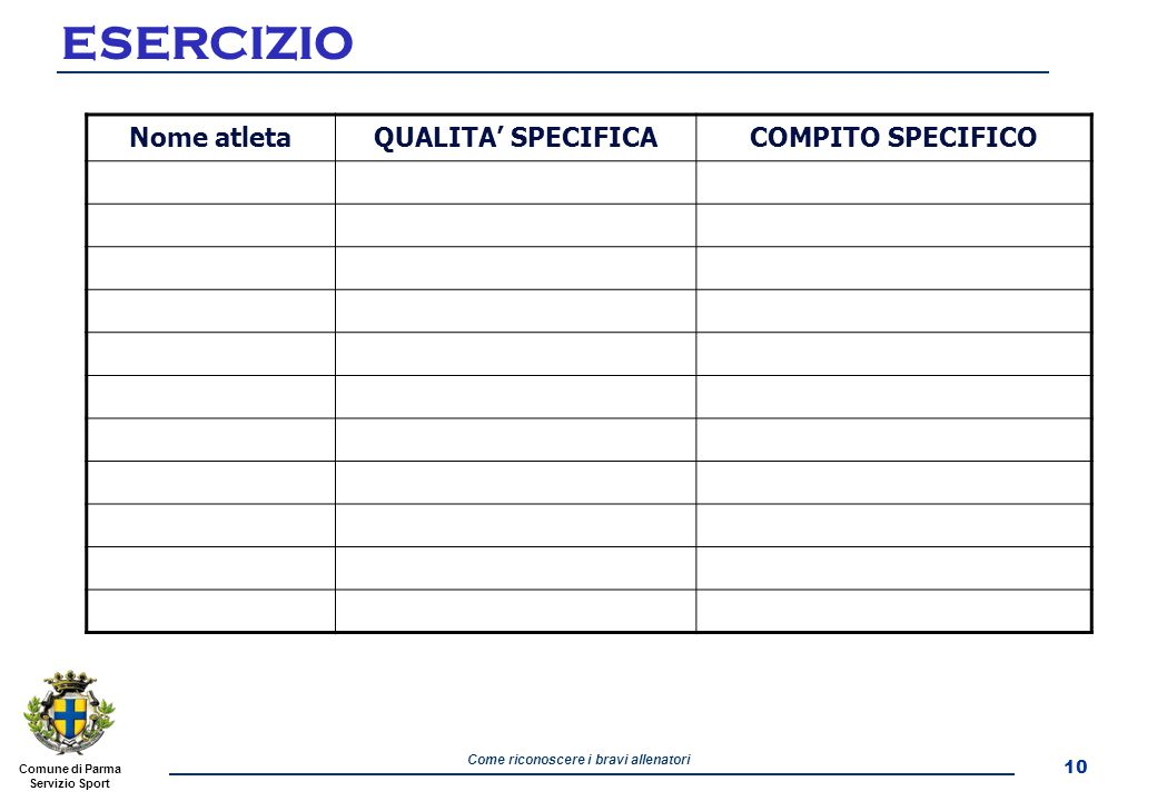 ESERCIZIO Nome atleta QUALITA' SPECIFICA COMPITO SPECIFICO 10