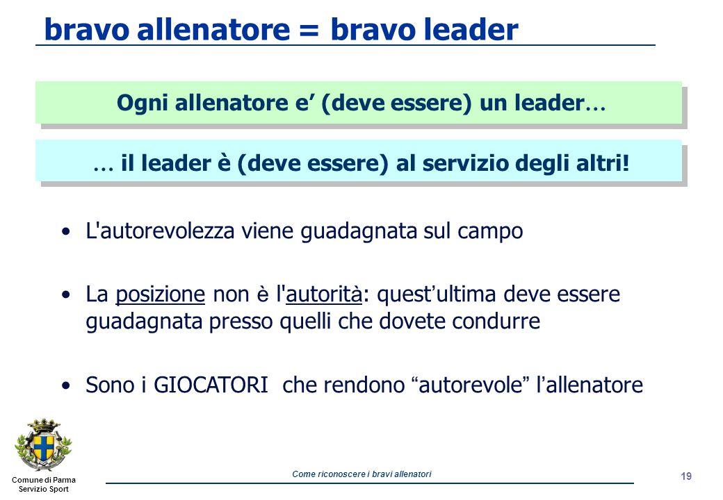 bravo allenatore = bravo leader