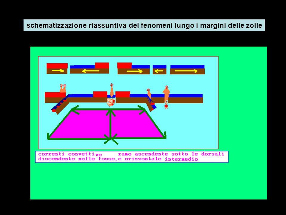 schematizzazione riassuntiva dei fenomeni lungo i margini delle zolle