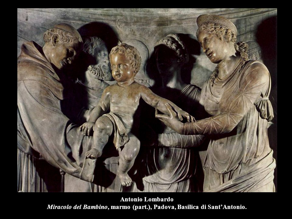 Antonio Lombardo Miracolo del Bambino, marmo (part