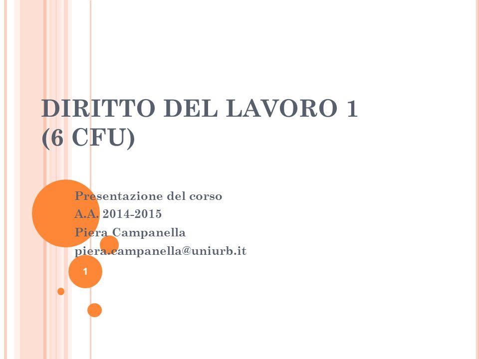 DIRITTO DEL LAVORO 1 (6 CFU)