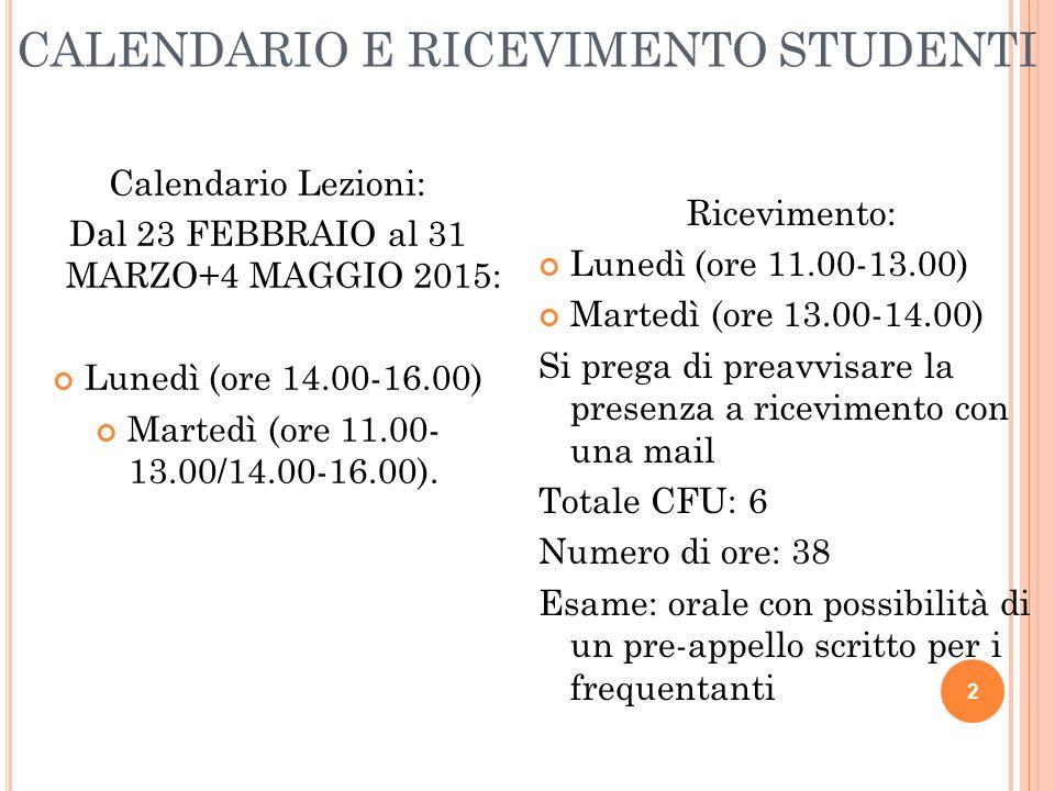 CALENDARIO E RICEVIMENTO STUDENTI