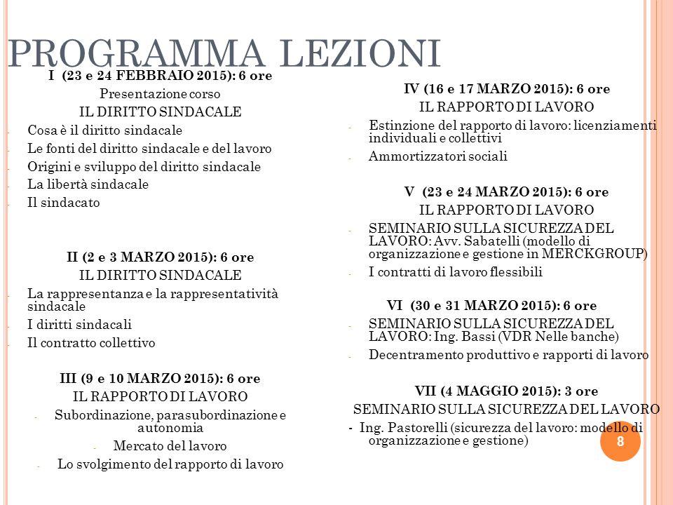 PROGRAMMA LEZIONI I (23 e 24 FEBBRAIO 2015): 6 ore