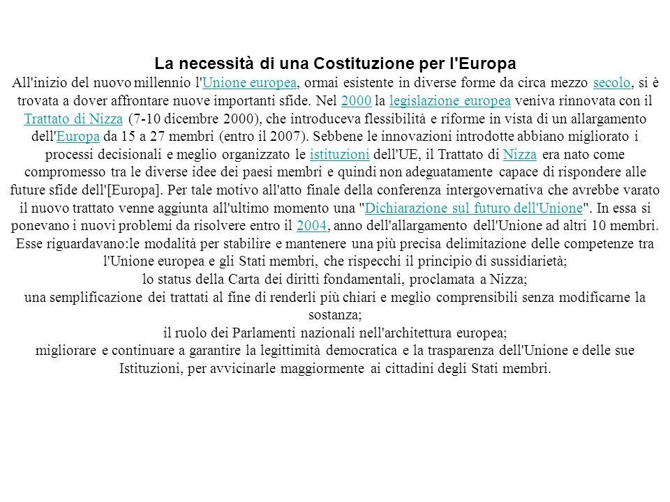 La necessità di una Costituzione per l Europa
