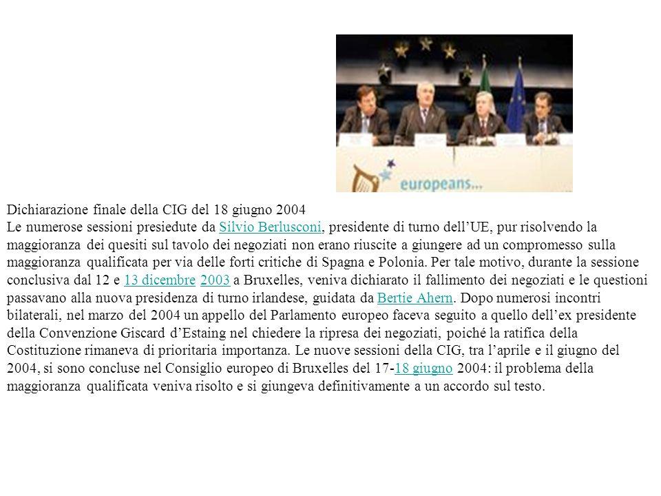 Dichiarazione finale della CIG del 18 giugno 2004